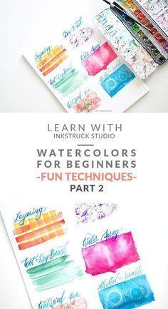 Learn fun and easy watercolor techniques for beginners in this post- Zakkiya Hamza   Inkstruck Studio #watercolorarts
