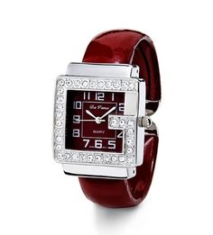 New Ladies CZ Silver Tone Red Bangle Fashion Watch