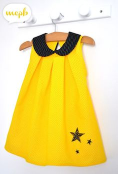 ALULA, yellow stinging and Peter Pan collar, Sewing Sewing for Children, Ivanne SOUFFLET, by MCPB - lyudmila faevskaya - Arabic styla Baby Outfits, Little Dresses, Little Girl Dresses, Kids Outfits, Couture Sewing, Retro Chic, Baby Sewing, Kids Wear, Baby Dress
