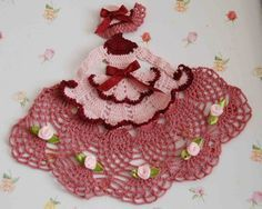 crochet caroline lady doilies   Crinoline Lady Hand Crochet Doily in Shades of Pink & Mauve w Roses