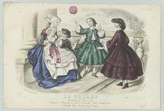 Anonymous | Le Follet, 1858, No. 2236 : Chapeaux d'Alexandrine..., Anonymous, A. Leroy, 1858 | Kindermeisje met een baby op schoot, een jongen hourdt een rammelaar voor de baby op. Twee meisjes spelen met een bal. Zij dragen hoeden van 'Alexandrine' en japonnen van 'Camille'. Onder de voorstelling enkele regels reclametekst voor verschillende producten. Prent uit het modetijdschrift Le Follet Courrier des Salons (novembre 1829- octobre 1882).