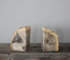 @mrs. french * is on a roll today! these are awesome! // Petrified Wood Bookends  by Heritage 1956
