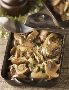 Sautéed Mushrooms and Onions in Butter and Wine - perfect addition to a juice steak or burger.