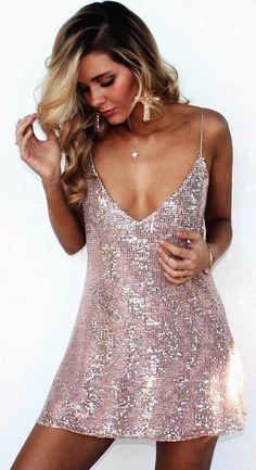 #summer #girly #outfitideas | Pink Sequin Little Dress