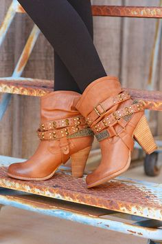 A Rhinestone In The Rough Booties - Tan Shoe Boutique, Candy Boutique, Country Girl Boots, Boots With Leg Warmers, Shoe Boots, Ankle Boots, Stiletto Pumps, Shoe Closet, Ladies Boutique