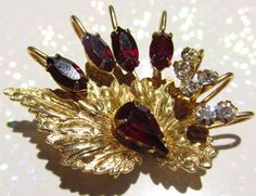 Vintage Jewelry 22kt Gold Leaf with Deep Ruby and by DLSpecialties, $39.99