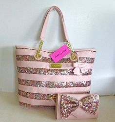 Betsey Johnson Stripe Sequins Blush Pink Tote Handbag & Convertible Wallet/Bag