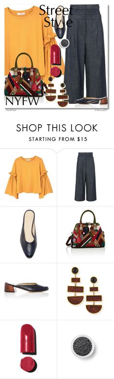 """""""NYFW Street Style: Day One"""" by octobermaze ❤ liked on Polyvore featuring MANGO, TIBI, Mari Giudicelli, Maison Margiela, Lizzie Fortunato, Chanel, Bare Escentuals, StreetStyle and NYFW"""