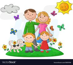Illustration about Illustration of Cartoon Happy family against a beautiful landscape. Illustration of character, cartoon, parents - 54300763
