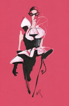 Shocking pink fashion illustration2
