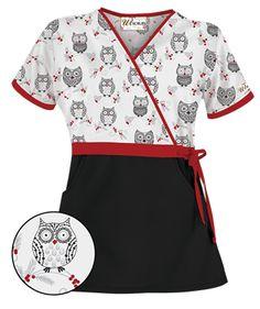 ua holiday hoot white mock wrap scrub top style h28hoh uniformadvantage uascrubs