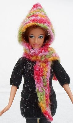 Easy Hooded Scarf for Barbie-Crochet Pattern