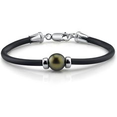Tahitian Round Pearl Bracelet- Various Sizes (320 CAD) ❤ liked on Polyvore featuring jewelry, bracelets, black, bracelet bangle, pearl bangle, black bangles, black pearl bracelet and black pearl jewelry