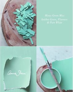 Try this mint green Chalk Paint™ mix. It's so pretty! What would you use this colour on?   #chalkpaint #anniesloan #mint #green #florence #antibes #purewhite #langley #diy #createabeautifullife