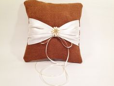 Rustic Ring Bearer Pillow, Brown Burlap Ring Pillow,Cottage Chic Wedding… Burlap Ring Pillows, Ring Bearer Pillows, Rustic Ring Bearers, Wedding Pillows, Rustic Wedding, Chic Wedding, Flower Ornaments, Satin Color, Rustic Barn