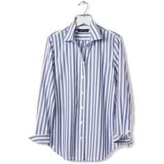 Banana Republic Womens Dillon Fit Vertical Stripe Shirt ($78) ❤ liked on Polyvore featuring tops, long sleeve shirts, vertical stripe top, banana republic shirt, spread collar shirt and long-sleeve shirt