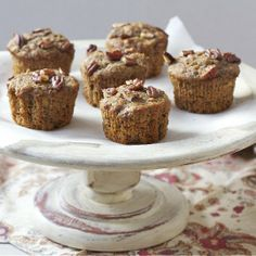 Maple, Banana + Pecan Muffins made with whole wheat flour, applesauce and honey.
