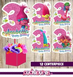 12 Trolls centerpieces, Trolls printable centerpieces, Trolls party supplies, Trolls birthday, Favors, decorations by TusCuchituras on Etsy https://www.etsy.com/listing/294703377/12-trolls-centerpieces-trolls-printable