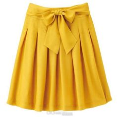 VERS BLANCS Ribbon Pin-tuck Skirt ($45) ❤ liked on Polyvore featuring skirts, bottoms, saias, yellow, women, vers, yellow skirt and ribbon skirt