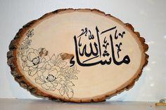 Handmade Islamic Arabic calligraphy on natural wood, Islamic decor, Ramadan decoration, Eid gift, Nikah gift. Decoraciones Ramadan, Islamic Celebrations, Creative Kids Rooms, Wood Slice Crafts, Cute Christmas Wallpaper, Islamic Decor, Music Drawings, Ramadan Decorations, Arabic Art