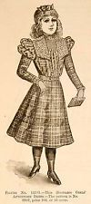 1898 Print Victorian Girl Afternoon Dress Costume Fashion Clothing Plaid YDL1