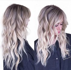 29 brown hair with blonde highlights looks and ideas blonde cool tones dark base icy ends with balayage: ash blonde w shadow root Ash Blonde Ombre Hair, Blonde Balayage, Blonde Curls, Blonde Roots, Platinum Blonde, Blonde Highlights, Tye And Die Blond, Onbre Hair, Wavy Hair