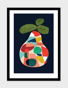 Fresh Pear Art Print by budikwan Art Et Illustration, Illustrations, Framed Art Prints, Canvas Prints, Stoff Design, Mid Century Art, Fruit Art, Art Plastique, Collage Art