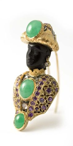 "18 kt. gold ""Moretto"" brooch set with apple green jade, purple sapphires and diamonds."
