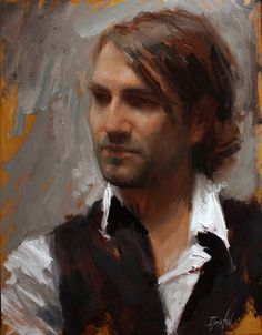 "artistandstudio:    Ignat Ignatov, Portrait of Jeremy, 18""x16"" oil on linen.  I believe this is a portrait of Jeremy Lipking."