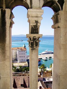 view from a tower, Split Croatia Split Croatia, Arches, Tower, Bows, Lathe, Towers, Arch, Building