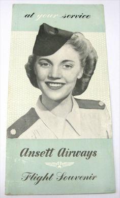 Ansett Airlines 1950s Vintage Timetable Flight Souvenir Brochure