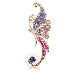 16K Gold Plated Crystal Butterfly Ear Cuff online - NewChic Mobile.