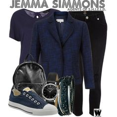 Inspired by Elizabeth Henstridge as Jemma Simmons on Agents of S. Tv Show Outfits, Fandom Outfits, Modest Outfits, Cool Outfits, Fashion Outfits, Fandom Fashion, Geek Fashion, Supergirl Outfit, Spy Outfit