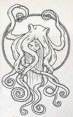 Octopus in my head lineart by BramboraCzech.deviantart.com on @DeviantArt