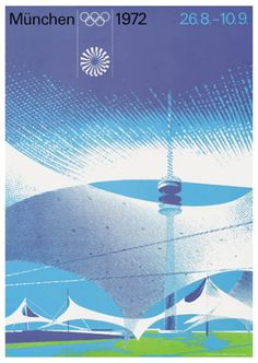 Munich 1972 Summer Olympic Games Official Poster Reprint - Olympic Museum 1972 Olympics, Summer Olympics, Poster Design, Graphic Design Posters, Helsinki, Helmut Schmid, International Typographic Style, Otl Aicher, Munich