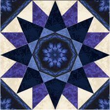 """Seaside Star from Jinny Beyer Studio. """"The Quilter's Design Board is free to… Star Quilt Patterns, Star Quilts, Mini Quilts, Blue Quilts, Quilting Templates, Quilting Projects, Quilting Designs, Quilt Blocks Easy, Medallion Quilt"""