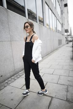 anouska wearing river island dungarees and chanel trainers