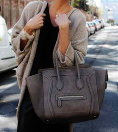 celine bag + sweater.