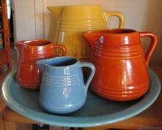 Pacific Pottery collection by now :-)  here's all four pitchers: 1/2 pt, 1 pt, 1 qt and 2 qt.