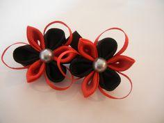 kanzashi flower, set of kanzashi hair clip, hair accesories, kanzashi by CarmelasDesigns on Etsy
