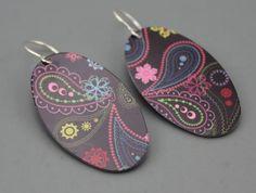Printed paisley earrings by Wendy Lee Etsy
