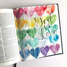 Bible Journaling With Me- Watercolor Hearts - Scribbling Grace Art Journaling, Bible Journaling For Beginners, Bible Study Journal, Scripture Journal, Bible Drawing, Bible Doodling, Scripture Art, Bible Art, Scripture Doodle
