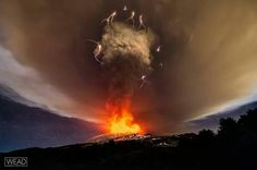 Europe's tallest active volcano erupted in deadly majesty on Thursday, Etna pushing out ash and lava, choking the Mediterranean sky above Sicily. Captured in these remarkable pictures, lightning bolts. Etna Eruption, Volcan Eruption, Etna Volcano, Erupting Volcano, Lava, Paris Match, Active Volcano, Heaven And Hell, Sicily Italy