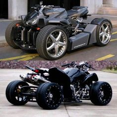 Which quad would be your ride? Concept Motorcycles, Honda Motorcycles, Custom Motorcycles, Cars And Motorcycles, Vintage Motorcycles, Custom Street Bikes, Custom Sport Bikes, Futuristic Motorcycle, Futuristic Cars