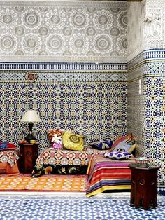 19 Ideas moroccan floor seating patterns for 2019 - Bohemian Home Living Room Moroccan Design, Moroccan Decor, Moroccan Room, Moroccan Tiles, Moroccan Fabric, Modern Moroccan, Moroccan Lanterns, Bohemian Living Rooms, Living Room Decor