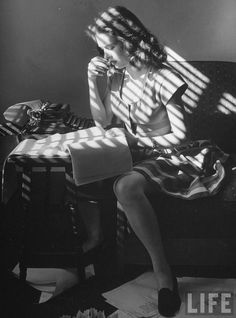 Film noir actress Cathy O'Donnell, working on her poetry. Photo by Martha Holmes, December 1945. LIFE.