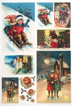 Rice paper / Decoupage paper, Scrapbook Sheet Old Pictures Merry Christmas Angel