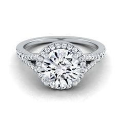 14k White Gold 1 1/4ct TDW Round Diamond Halo Scroll Engagement Ring (H-I, VS1-VS2) (Size - 11.5), Women's