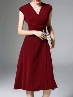 Wine Red Elegant Polyester Plain Pockets Midi Dress Stylewe