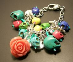 dia de los muertos rose and sugar skull bracelet